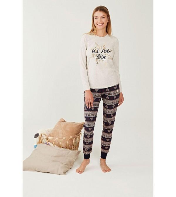 U.S. Polo Assn. Yuvarlak Yaka Bayan Pijama Takım 16245